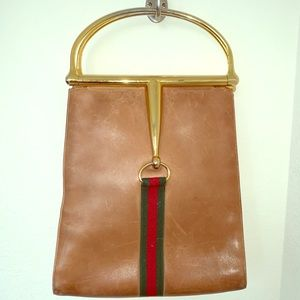 Rare Gucci Leather Bag with Metal Handle